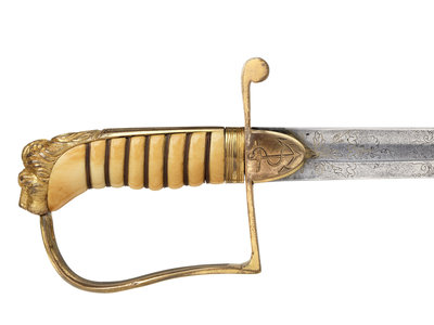 Stirrup hilted sword which belonged to Rear Admiral Sir James Clark Ross (1800-1862) by Drury & Son - print