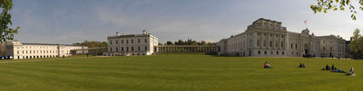 Panoramic view of National Maritime Museum, Queen's House and the Royal Observatory (ROG), with visitors on lawns by National Maritime Museum Photo Studio - print
