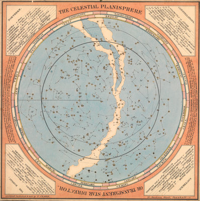 The celestial planisphere or transparent star director by T. Clark - print