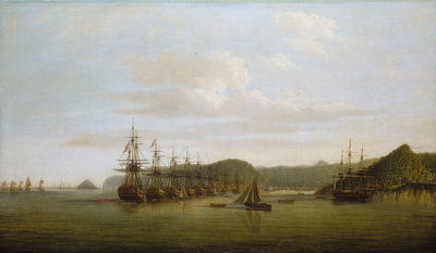 Barrington's action at St Lucia: the squadron at anchor off the Cul de Sac after the action, 16 December 1778 by Dominic Serres the Elder - print