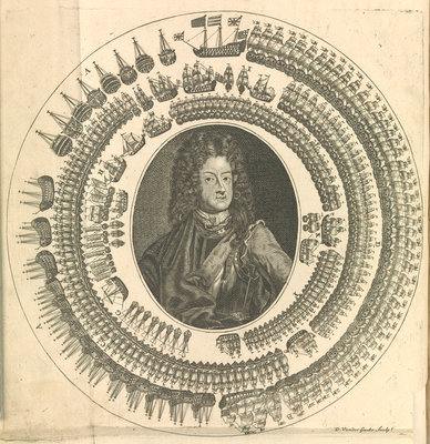 George I with his fleet circling around him by unknown - print