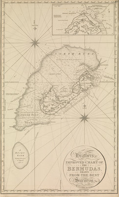 Heather's improved chart of the Bermudas' with an inset of 'the entrance to Murray's anchorage by Norie - print