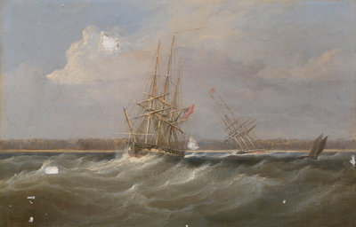The opium clipper 'Sylph' salvaged by the sloop 'Clive', 1835 by William John Huggins - print