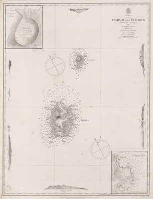 Azores Corvo and Flores. Surveyed by Capt. A.T.E Vidal R.N 1844. by British Admiralty - print