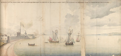 A prospect of the magazine and platform of Portsmouth and part of the Isle of Wight taken from on board the Richmond yacht outward bound for Guernsey by Thomas Phillips - print