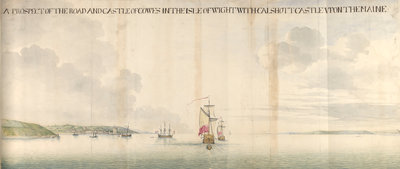 A prospect of the road and castle of Cowes by Thomas Phillips - print