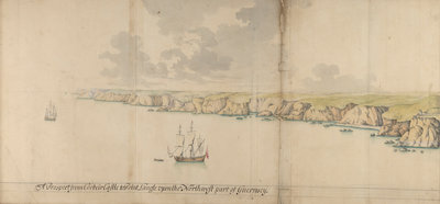 A prospect from Corbeir Castle tp Point Langle upon the north-west part of Guernsey by Thomas Phillips - print