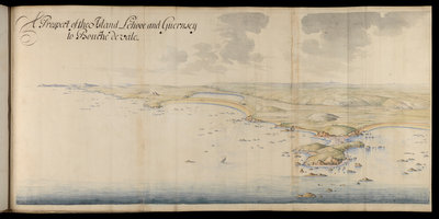 A prospect of the island of Lihou and Guernsey by Thomas Phillips - print