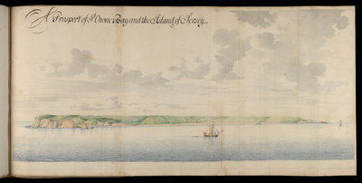 A prospect of St Owen Bay and the Island of Jersey by Thomas Phillips - print