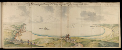 Channel Islands Survey: A prospect of St Hilary Bay and Castles from the land by Thomas Phillips - print