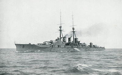 HIJMS 'Kongo' (1912), a battlecruiser built for Japan by Vickers, undergoing completion trials in British waters by unknown - print