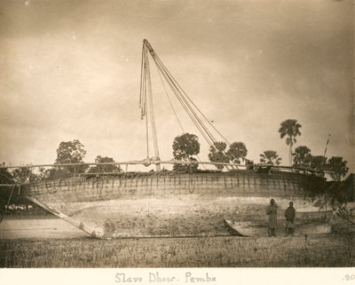A slave dhow beached, Pemba 1890 by unknown - print