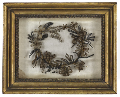 Wreath made from hair by Emma Hamilton - print