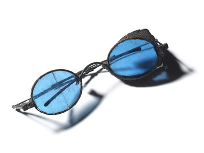 Snow goggles with blue lenses: Relic of Sir John Franklins last expedition 1845-1848 by unknown - print