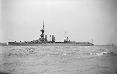 Gunnery training ship HMS 'Iron Duke' (1912) in 1935 by unknown - print