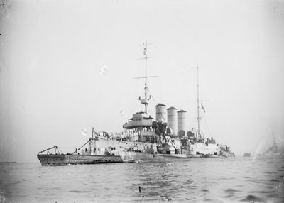 Protected cruiser 'Libia' (It, 1912), with surrendered German submarines. by unknown - print