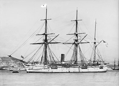 Wooden screw gun vessel HMS 'Woodlark' (1871) by unknown - print