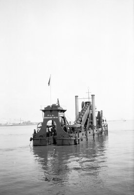 'P.L.A. Dredger No 10' (1924) at anchor in the Thames in around 1930 by unknown - print