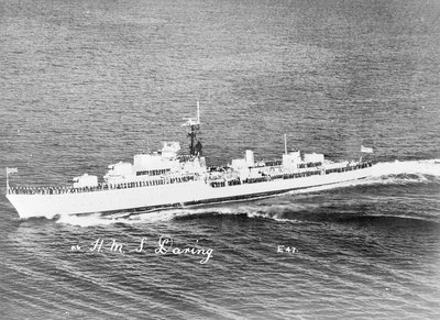 Destroyer HMS 'Daring' (1949) under way with crew in review order manning the ship by unknown - print