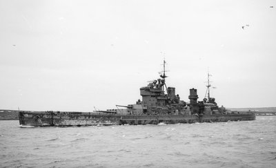 HMS 'King George V' (Br, 1939), under way, bound out at Scapa Flow, 2 April 1941 by unknown - print