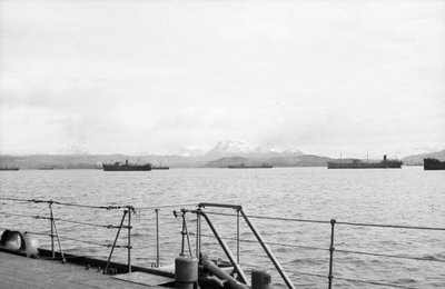 Merchant shipping, including two oil tankers, assembling at Loch Ewe in 1941 by unknown - print