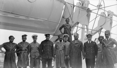 Crew aboard P&O passenger liner 'Strathnaver' (Br, 1931) by unknown - print