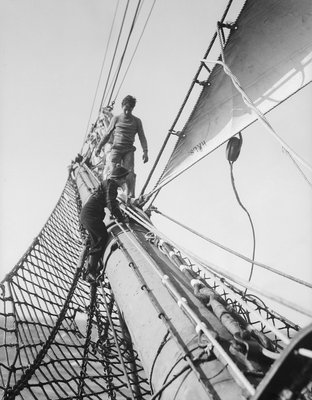Apprentices on the bowsprit by Alan Villiers - print