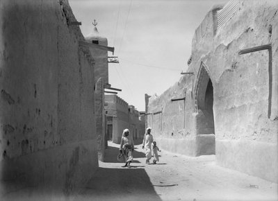 Kuwait street with an ornate doorwary details by Alan Villiers - print