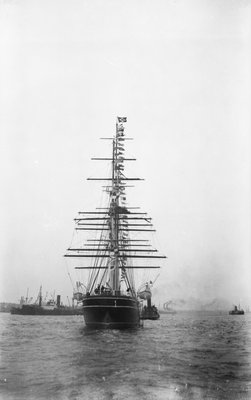 'Cutty Sark' (1869) being towed by tug 'Muria' on the Thames by unknown - print