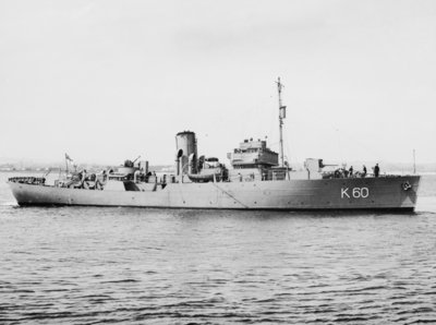 Flower-class corvette, HMS 'Lavender', off Aberdeen Beach by unknown - print