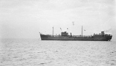 Photograph of the tanker 'Athelvictor' (1941) at anchor by unknown - print