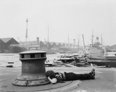 Man resting at Surrey Commercial Docks by unknown - print