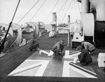 Lascars ' Asian seamen ' painting a Union flag on the deck of the P&O liner 'Chitral' by unknown - print