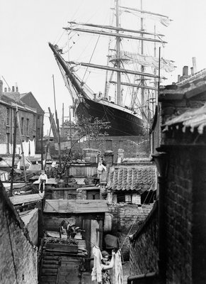 3-masted barque 'Penang' in dry dock at Millwall 1932 by unknown - print