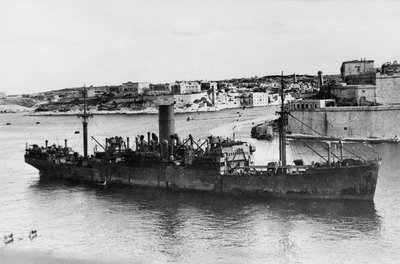 'Ajax' (Br, 1931) under way in Grand Harbour, Malta, arriving in convoy MW 8A Fine Art Print by unknown