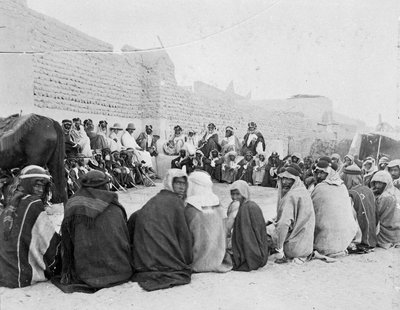 Mubarak Al-Sabah (Sheikh of Kuwait from 1896-1915) holding an outside audience in Kuwait by unknown - print