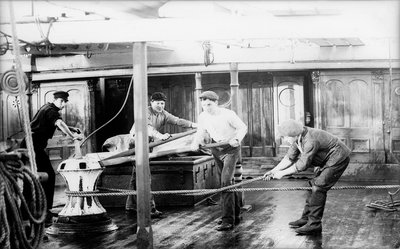 'Agda' 3 masted barque, hands manning after the capstan by unknown - print