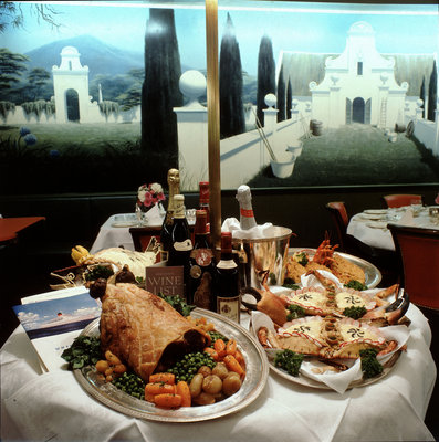 Dinner table spread aboard Union-Castle liner 'Transvaal Castle' by Marine Photo Service - print