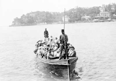 Passengers being to 'Strathcaird' off fjord of Norway by unknown - print