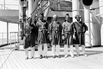 Crew on deck aboard P&O passenger/cargo liner 'Viceroy of India' (Br, 1929) by unknown - print