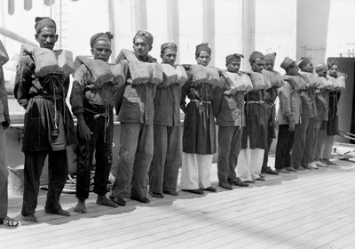 Crew wearing life jackets aboard the P&O passenger/cargo liner 'Viceroy of India' (Br, 1929) by unknown - print