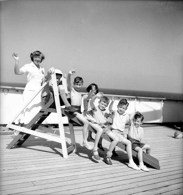 Children's hostess and junior passengers aboard 'Chusan' by Marine Photo Service - print