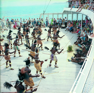 Local dancers from Roratonga, Cook Islands performing aboard the 'Kungsholm' by Marine Photo Service - print