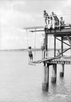 Passengers on a jetty in Barbados, Lesser Antilles by Marine Photo Service - print