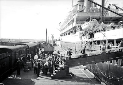 Passengers boarding the 'Orontes' at Immingham Dock, Humberside, England by Marine Photo Service - print