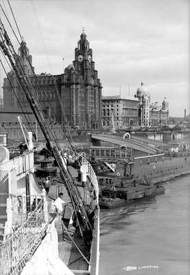 The Royal Liver Building at Liverpool, England by Marine Photo Service - print