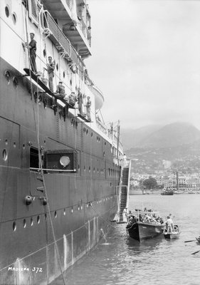 Crews painting the 'Orontes' at Madeira by Marine Photo Service - print