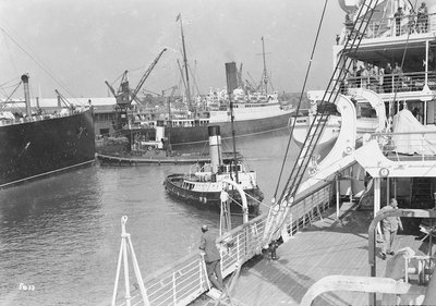 'Aquitania', 'Alaunia' and 'Orford', with the tugs 'Canute' and 'Wellington' at Southampton by Marine Photo Service - print