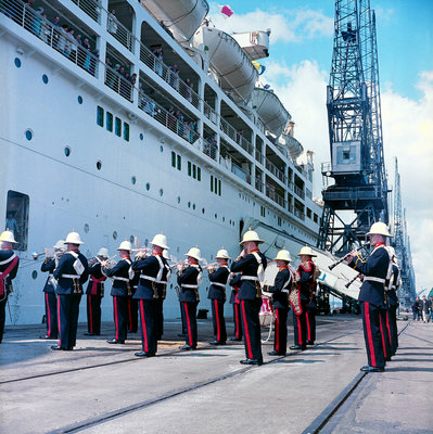 Quayside bands at San Juan, Puerto Rico by Marine Photo Service - print
