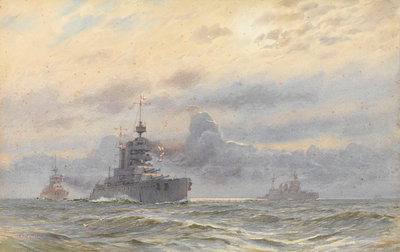 HMS 'Princess Royal' and New Zealand by Alma Claude Burlton Cull - print